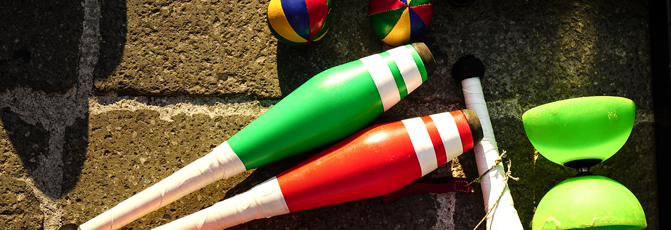 juggling equipment laying on the ground